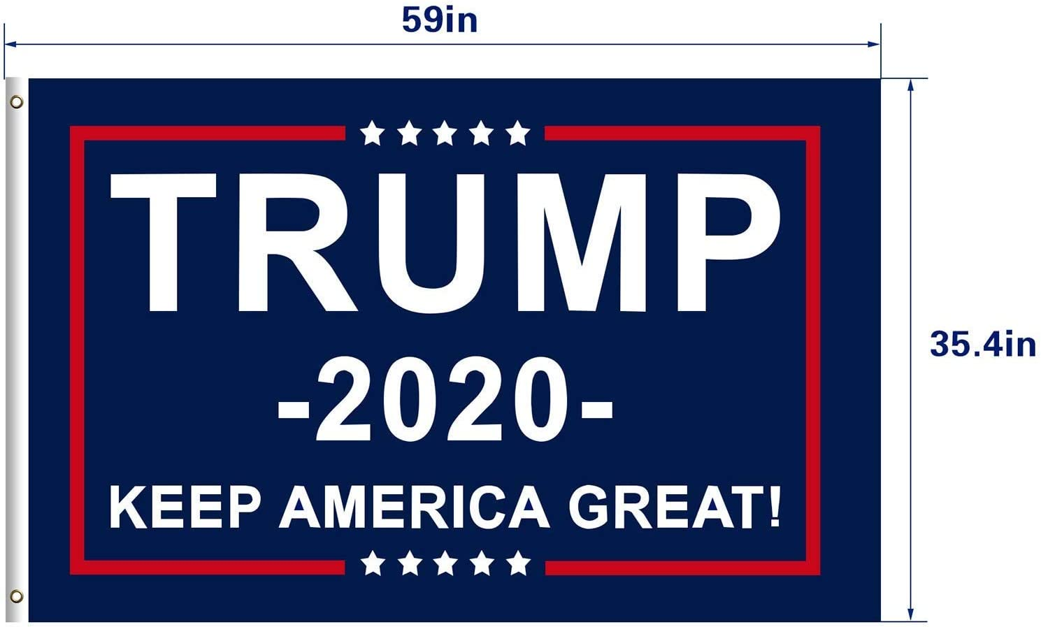 TRUMP 2020 FULL SIZE FLAG 3X5 FEET BRASS GROMMETS MAGA USA KEEP AMERICA GREAT US
