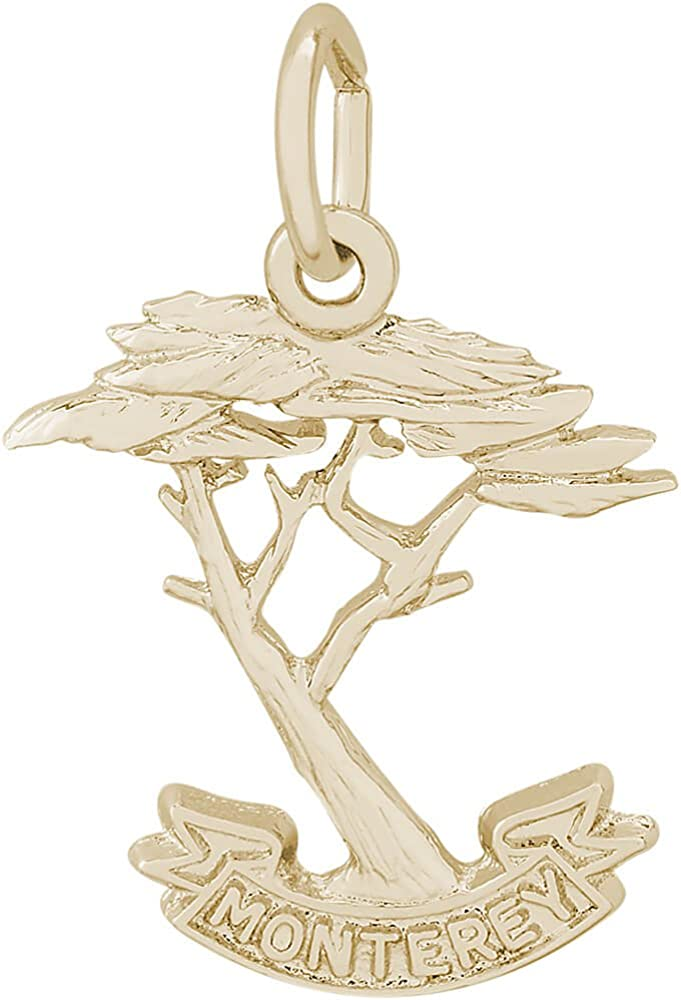 Box or Curb Chain Necklace Rembrandt Charms Two-Tone Sterling Silver Monterey Cypress Charm on a Sterling Silver 16 18 or 20 inch Rope