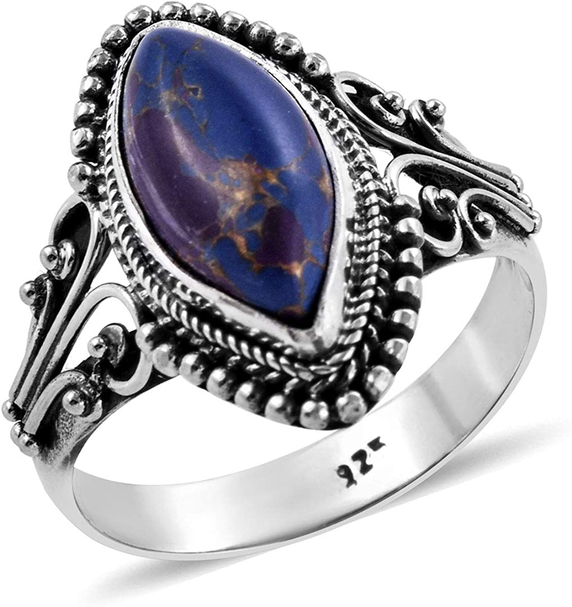 USA Seller Moon & Star Ring Sterling Silver 925 Jewelry Selectable Blue Opal