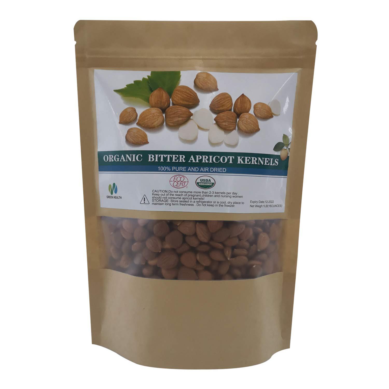 Natural Raw Bitter Apricot Kernels 16oz , Organic USDA Certified Bitter Apricot Seeds 1LB