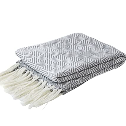 0358c32a0 LakeMono 100% Cotton Knitted Throw Blanket, Couch/Sofa/Bed Maze Pattern  Super