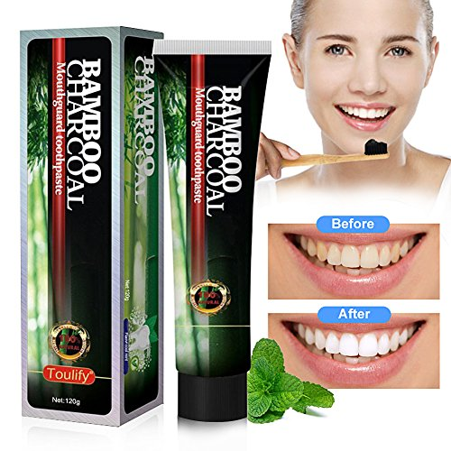 Kit Toothpaste (Activated Charcoal Teeth Whitening Toothpaste - DESTROYS BAD BREATH - Best Natural Black Tooth Paste Kit - MINT FLAVOR - Herbal Decay Treatment - REMOVES COFFEE Stains)