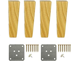 FCXBQ Solid Wood Furniture Legs | 100% Oak, Set of 4,Replacement Sofa Couch Chair Ottoman Loveseat Coffee Table Cabinet Furniture Wood Feet (9.8inch/25cm)