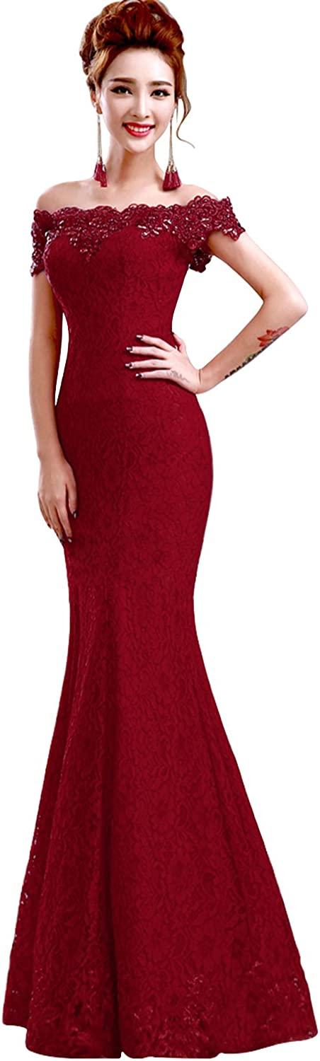 Babyonline Off Shoulder lace red Mermaid Evening Formal Bridesmaid Dress 61L4AfE%2BZTL