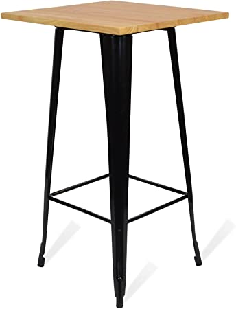 Santani Mobili Table Haute En Metal Tolix Style Light Legs Noire