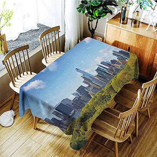 XXANS Custom Tablecloth,City,Manhattan Skyline with Central Park in New York City Midtown High Rise Buildings,Party Decorations Table Cover Cloth,W52x70L Blue Green Ivory