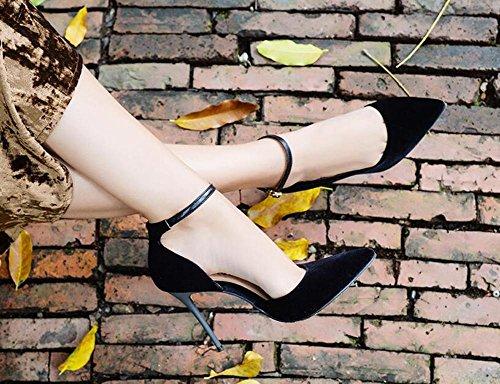 L@YC® Mujeres Tacones Altos Vaciar Punta Sandalias Verano Bellas Con Una Palabra Hebilla Zapatos Negro Zapatos Señoras Black