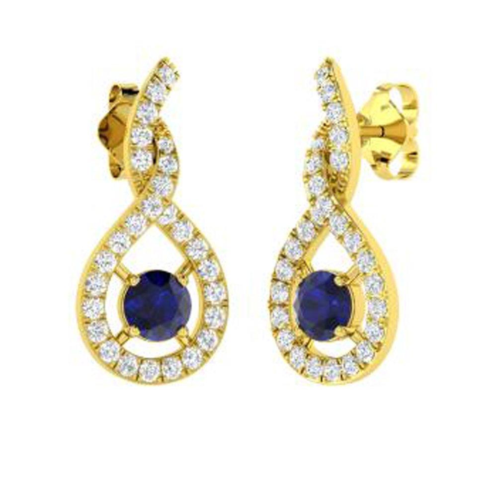 Dividiamonds 1.18 Ct Round Cut Sapphire /& Sim Diamond Girls /& Womens Drop Earrings Solid 14K Gold Plated