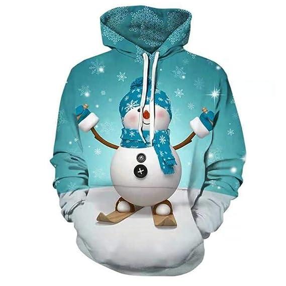 JIANGfu Fashion Mens Womens 3D Snowman Printed Christmas Hooded Sweatshirt  Unisex Casual Long Sleeve Pullover T-Shirt Hoodie Tops Blouse   Amazon.co.uk  ... e43335d3b