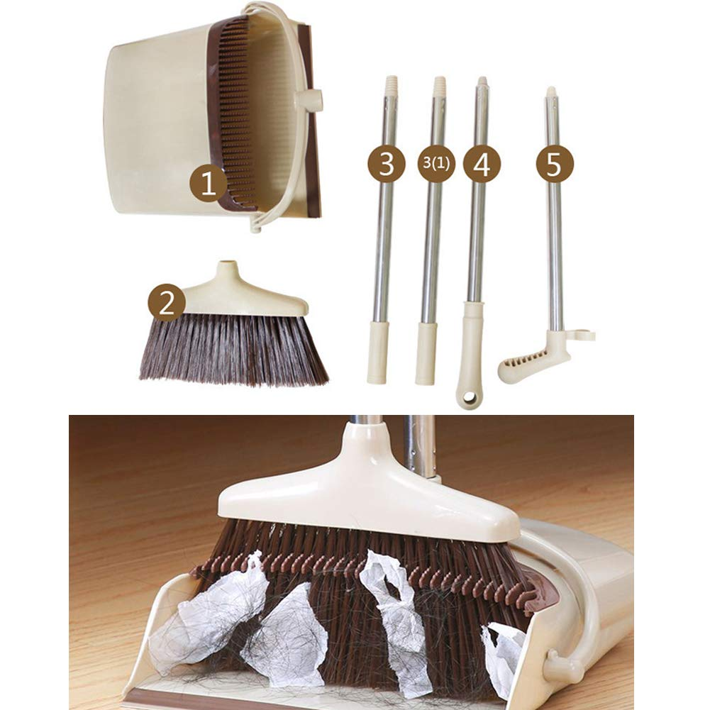 YJIUJIU Broom and Dustpan/Dust Pan and Broom Combo Set with Long Handle for Upright Sweep Lobby Office Pet Hair Sweeping Kitchen House by YJIUJIU (Image #2)