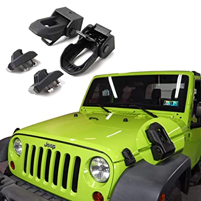 Jeep Hood Latch For 2007-2020 Jeep Wrangler Jk JL Black Stainless Steel Catch Kit Accessories To 2020 Jeep Wrangler: Automotive
