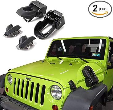 Hood Catches 1 Pair for Jeep Wrangler JK and JKU 2007-2018 Aluminum Hood Latches Gloss Black