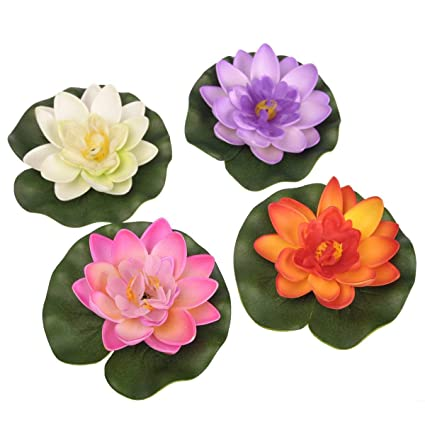 Large xiton Floating of The Water Lily Pond Decoration//Lotus Foam Flower Set of 4