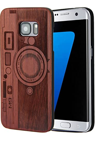 sports shoes a05f3 4526f Compatible with Galaxy S7 Edge Wood Case, Engraving Skull with Plastic Slim  Covering Wooden Cases for Samsung Galaxy S7 Edge