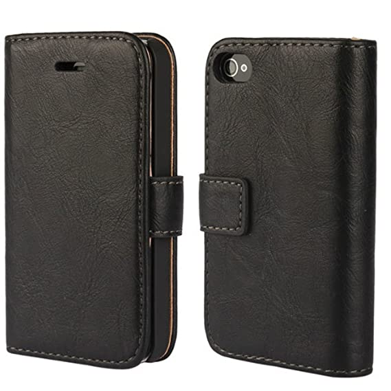 best authentic f0a20 8297b iPhone 4 Case, iPhone 4s Wallet Case, Wallet Leather Heavy Duty Protection  Soft TPU Back Kickstand Case for Apple iPhone 4 / 4s - Black