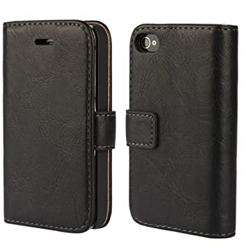 FDTCYDS iPhone 4 hülle, iPhone 4s Handyhülle, Premium Leder Handy Schutzhülle Flip Case Tasche für iPhone 4,iPhone 4s - Schwa