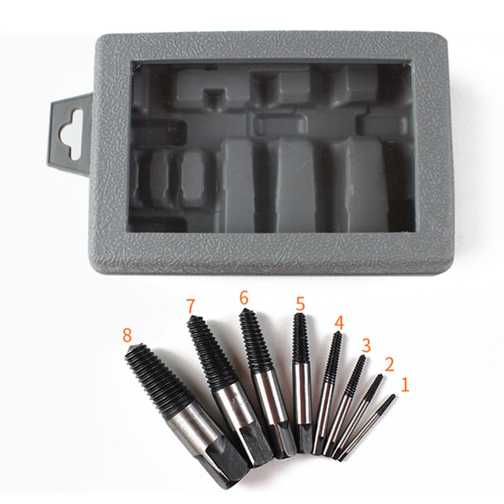 8 piece Easy Out Screw Extractor Set,Damaged Screw Broken Bolt Water Pipe Remover Set By Nizzco by Nizzco (Image #6)