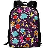 OIlXKV Cute Cartoon Doodles Print Custom Casual School Bag Backpack Multipurpose Travel Daypack For Adult
