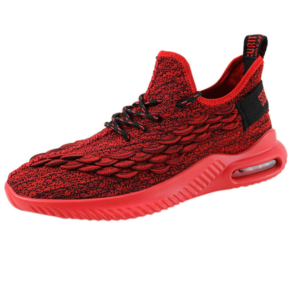 Lace Up Running Shoes Men,Mosunx Athletic 【Air Cushioning Mesh Breathable】 Sneaker Mid Basketball Shoes Non-Slip Gym Trail Walking Shoes (9 M US, Red) by Mosunx Athletic