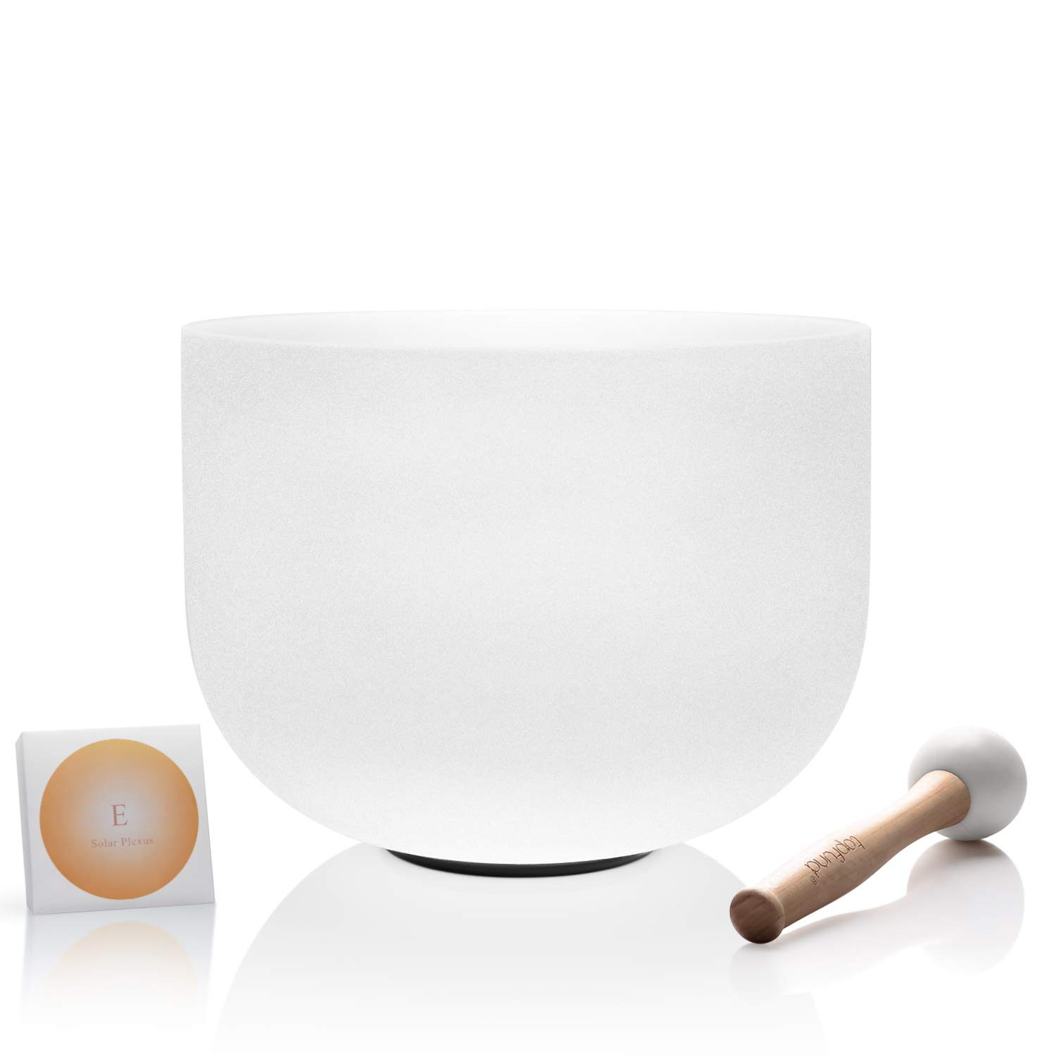 TOPFUND 432Hz Perfect Pitch E Note Crystal Singing Bowl Solar Plexus Chakra 10 inch O-ring and Rubber Mallet included by TOPFUND
