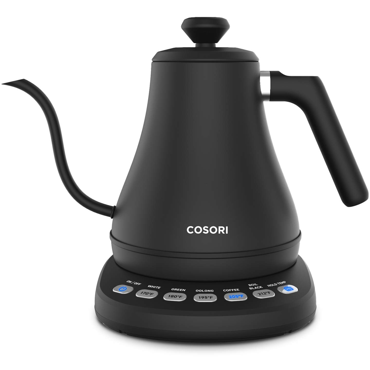 COSORI Electric Gooseneck Kettle with 5 Variable Presets, Pour Over Coffee Kettle Tea Kettle, 100 Stainless Steel Inner Lid Bottom, 1200 Watt Quick Heating, 2-year Warranty, 0.8L, Matte Black