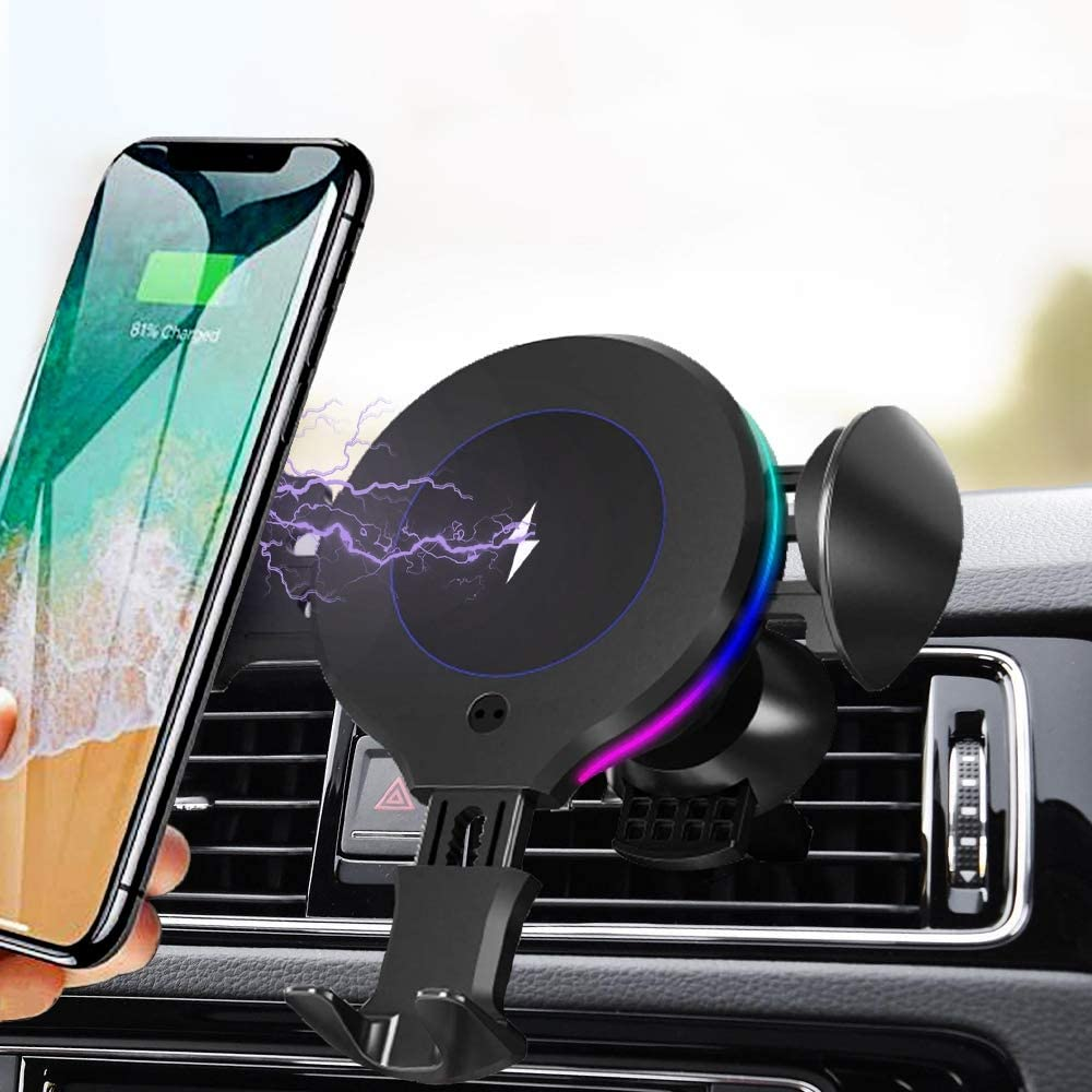 ALLSUN Wireless Car Charger, 10W Qi Fast Charging Auto Clamp Car Mount Air Vent Phone Holder for Car Compatible iPhone 11/11 Pro Max/XS/Xs Max/XR/X/8/8+, Samsung Galaxy Note 9/S20/S10/S9/S8, LG, etc.
