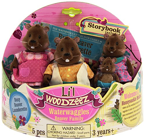 Li'l Woodzeez Waterwaggles Beaver Family Set with Storybook