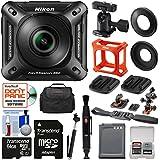 Nikon KeyMission 360 Wi-Fi Shock & Waterproof 4K Video Action Camera Camcorder + 2 Helmet & Flat Surface Mounts + 64GB Card + Battery + Case + Selfie Stick Kit