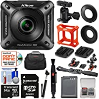 Nikon KeyMission 360 Wi-Fi Shock & Waterproof 4K Video Action Camera Camcorder + 2 Helmet & Flat Surface Mounts + 64GB Card + Battery + Case + Selfie Stick Kit
