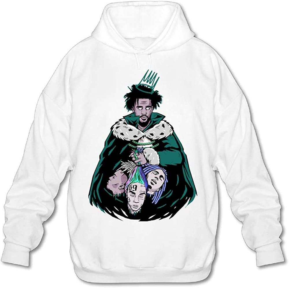 J-Cole Mens Casual Hoodies Fashion Pullover White