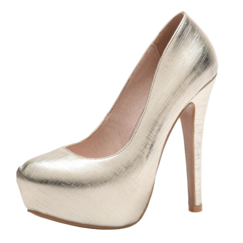 SJJH - Sandalias con Cuña de Material Sintético Mujer 48 EU|Dorado