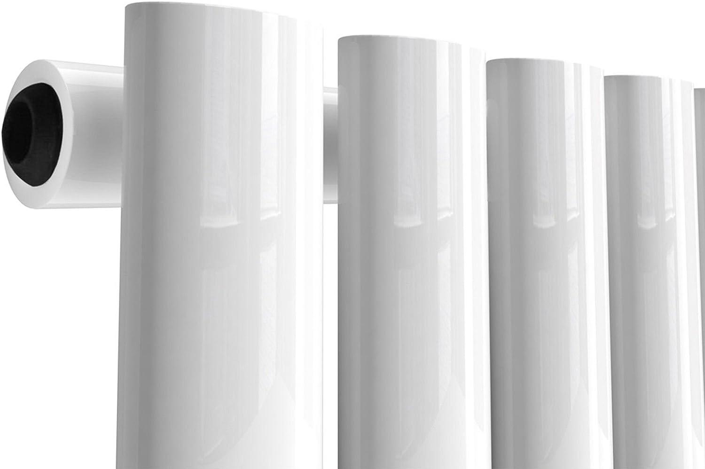 NRG Vertical 1600x472 Oval Column Designer Radiator Bathroom Central Heating Double Panel White