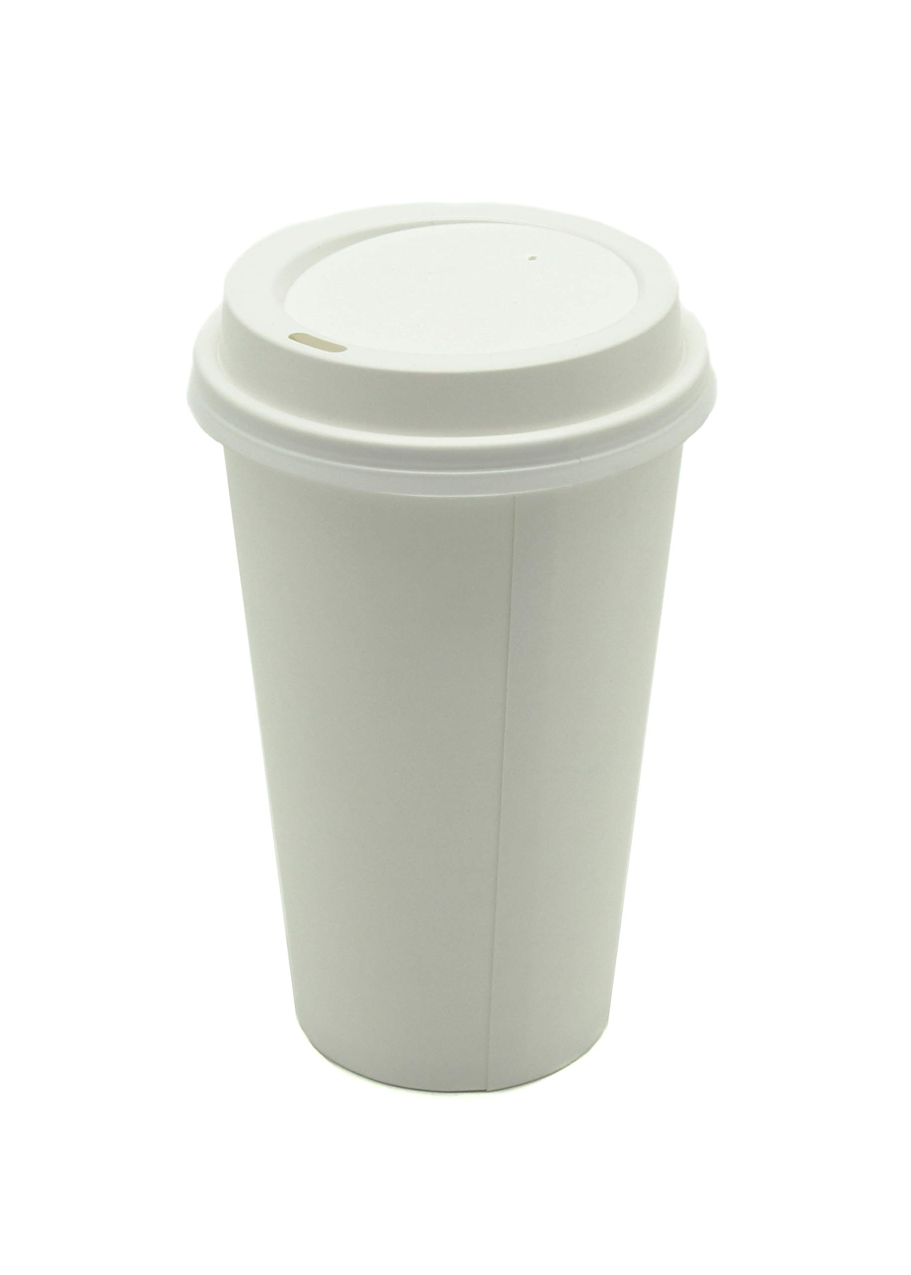 [1000 COUNT] White Paper Hot Cups with White Lids- premium white paper Coffee Office Cocoa Hot Chocolate Latte Cappuccino Hot (1000, 16oz Cups + Lids)