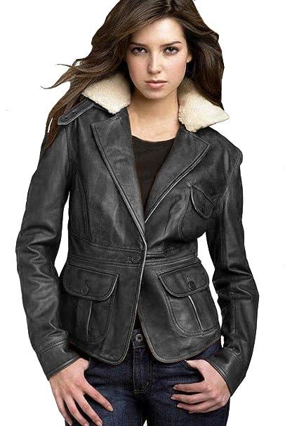 Amazon.com: Chaqueta corta para mujer, estilo abrigo, piel ...