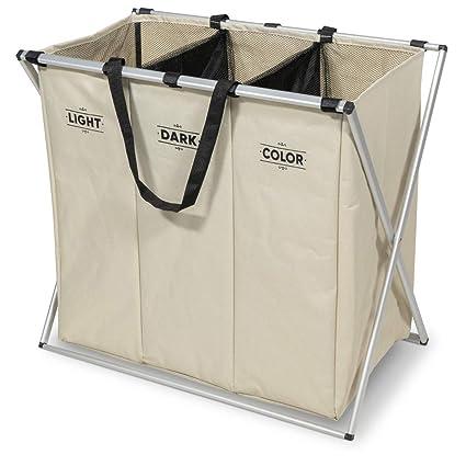 Navaris Cesta para Ropa Sucia de 3 Compartimentos - Organizador de Colada de 130L - Cesto de lavandería para Ropa de Color Oscura Clara - En Crema
