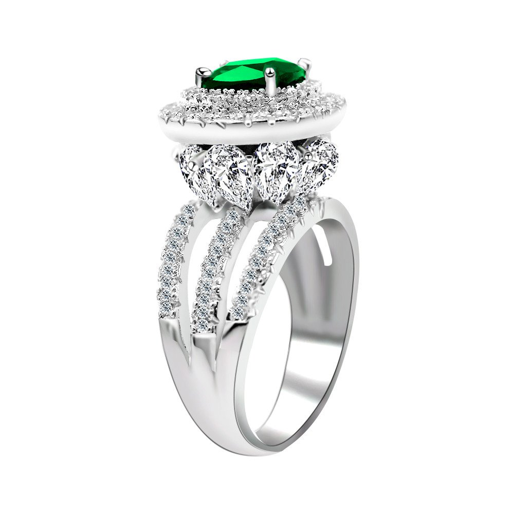 Uloveido Women's White Gold Plated Wedding Engagement Ring for May Birthstone Good Idea for Birthday Gift RJ213 (Size 9)