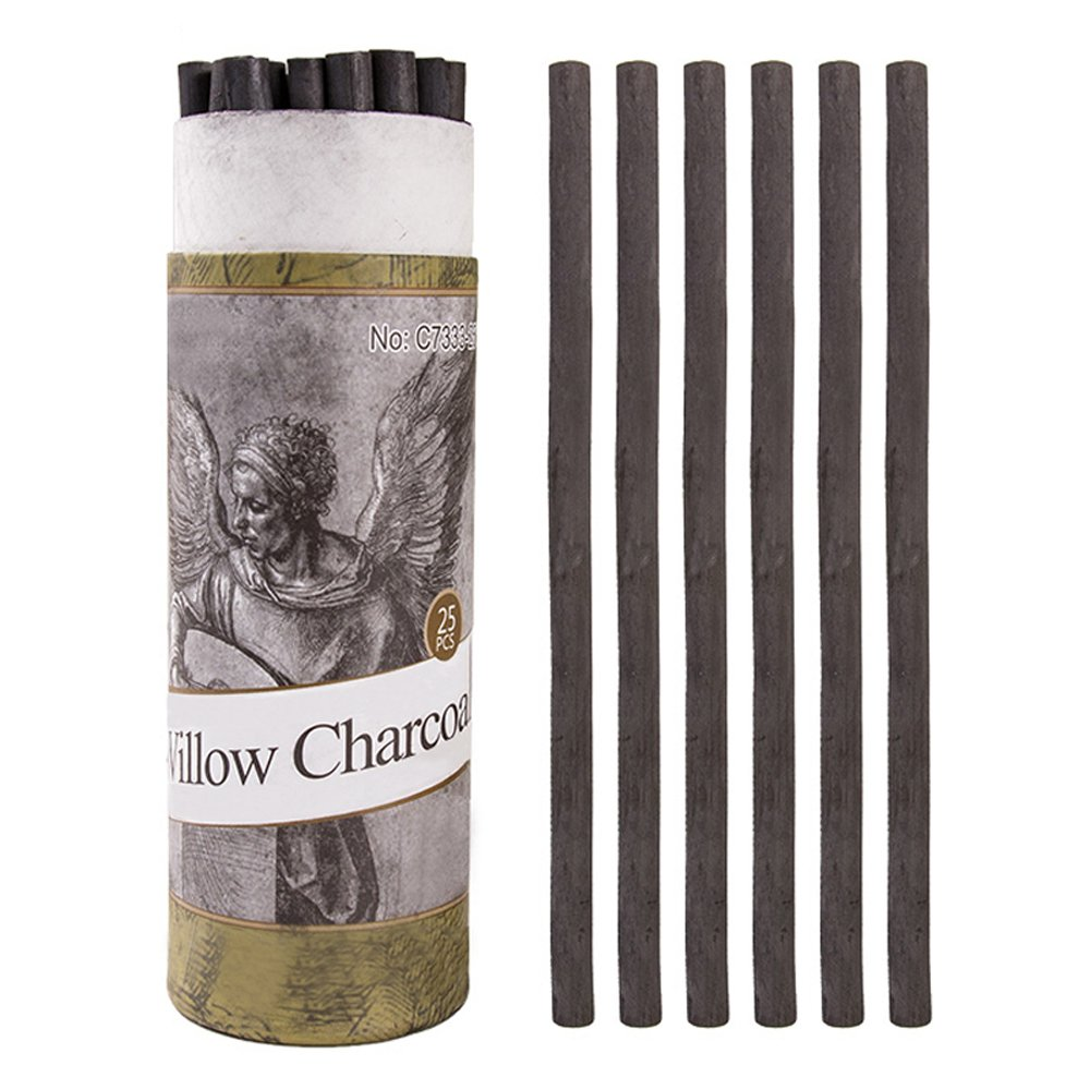 Artist Willow Vine Sketch Charcoal Sticks, Approx. 5-7mm Dia, Pack of 25 Looneng