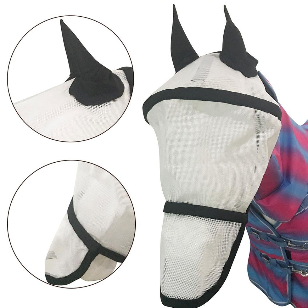 Dreamyth Fly-Proof Mosquito-encased Horse Mask,Horse Mask Protect Ears Nose Sun Protection Styles Prevent Flies and Bugs