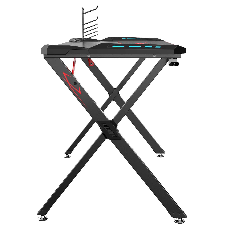 Eureka Ergonomic X1-S Gaming Computer Desk 44.5''x24.19'' Studio Desk PC Table Gaming Desks with LED Lights Large Carbon Fiber Surface Cup Holder & Headphone Hook-Black by Eureka Ergonomic (Image #3)