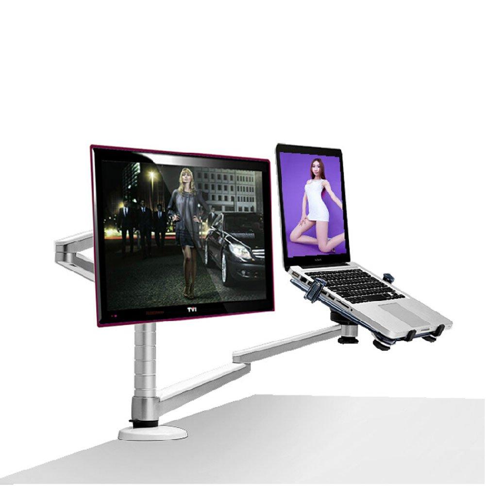 Height Adjsutable Laptop Stand Multifunction Desktop Dual Arm 27 Lcd Universal Inch Monior Holder Aluminum Alloy