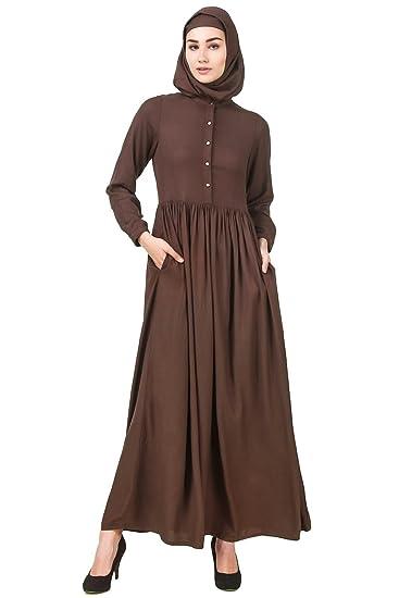 84a6d1f2c668 MyBatua Brown Rayon Abaya Muslim Casual & Formal Burqa Maxi Dress AY-566 (XS