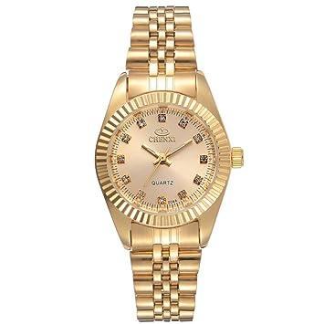 WZFCSAEAE Luxury Ladies Gold Watch Mujeres Reloj Dorado Mujer Mujer Vestido Rhinestone Quartz Relojes Impermeables Femenino