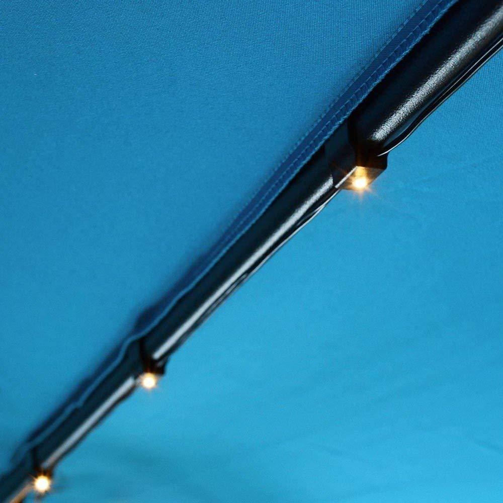 10 Ft 8-Rib Patio Umbrella Power Solar Panel String 48 LED Lights Warm White w/Plastic Clips for Outdoor Garden Decoration Lighting