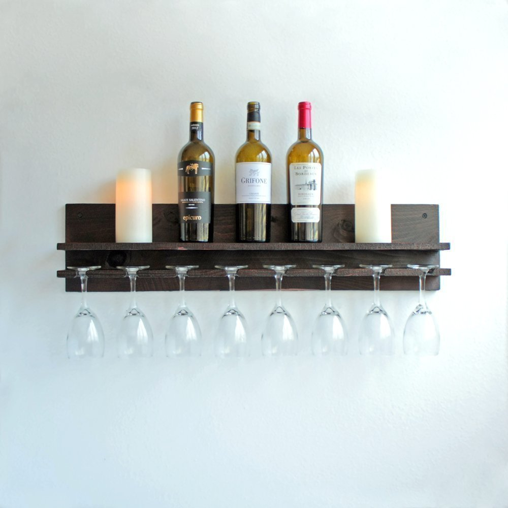Custom Rustic Space Saving Wine Rack with Shelf and Glass Holder Choice of Stains Wall Mounted