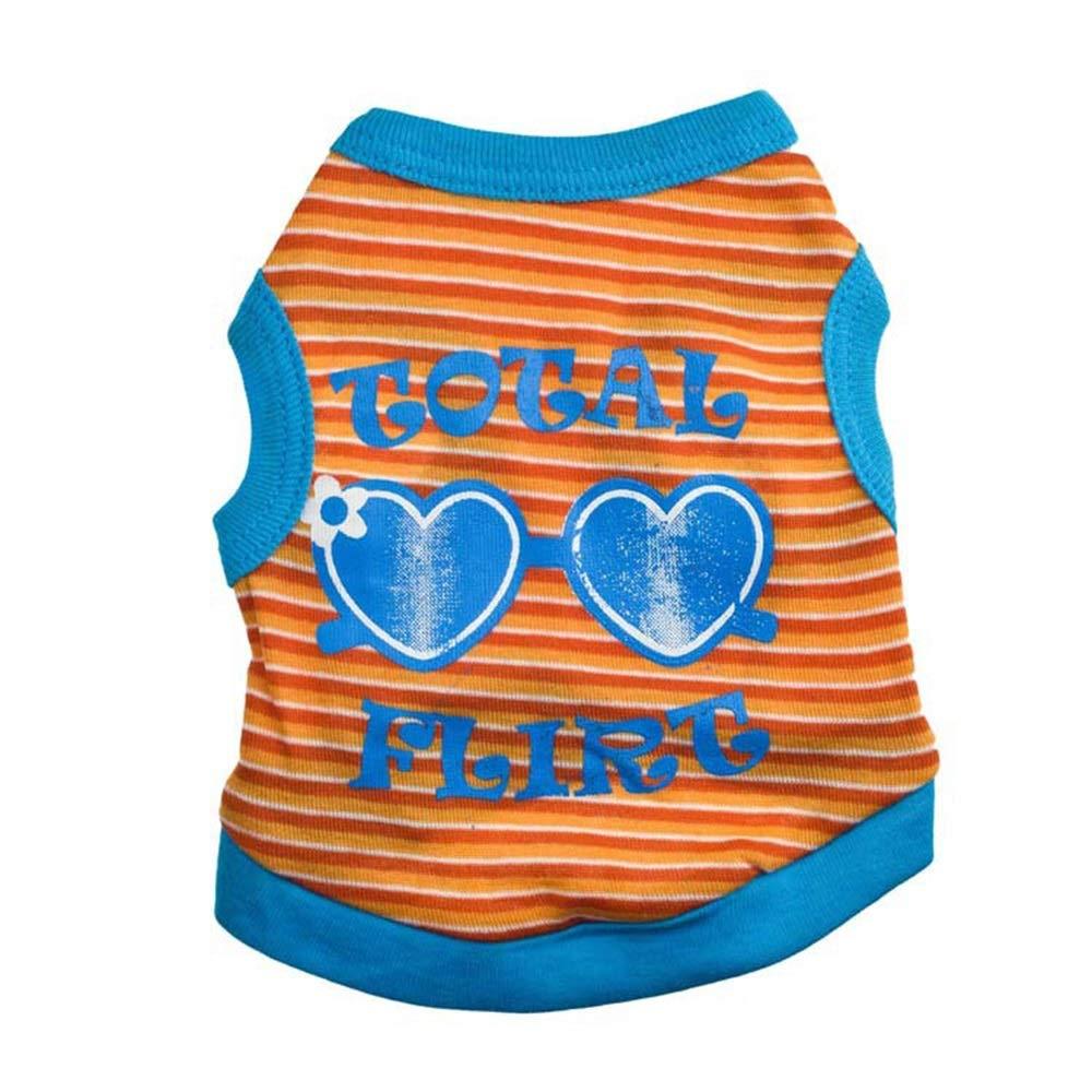 orange XS orange XS Huayue Dog T-Shirt Vest Cotton Angelical Precious Sunglasses Pet Vest (color   orange, Size   XS)