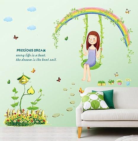 Wallpark Vistoso Arco Iris Pastoril Flores Mariposas Con Columpio