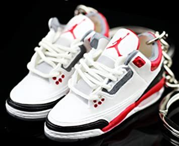 e8c0dd18554598 Air jordan III 3 Retro Cement Fire Red White Sneakers Shoes 3D Keychain