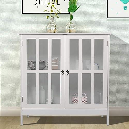 SSLine White Samll Buffet Sideboard Kitchen Server Storage Cabinet Cupboard