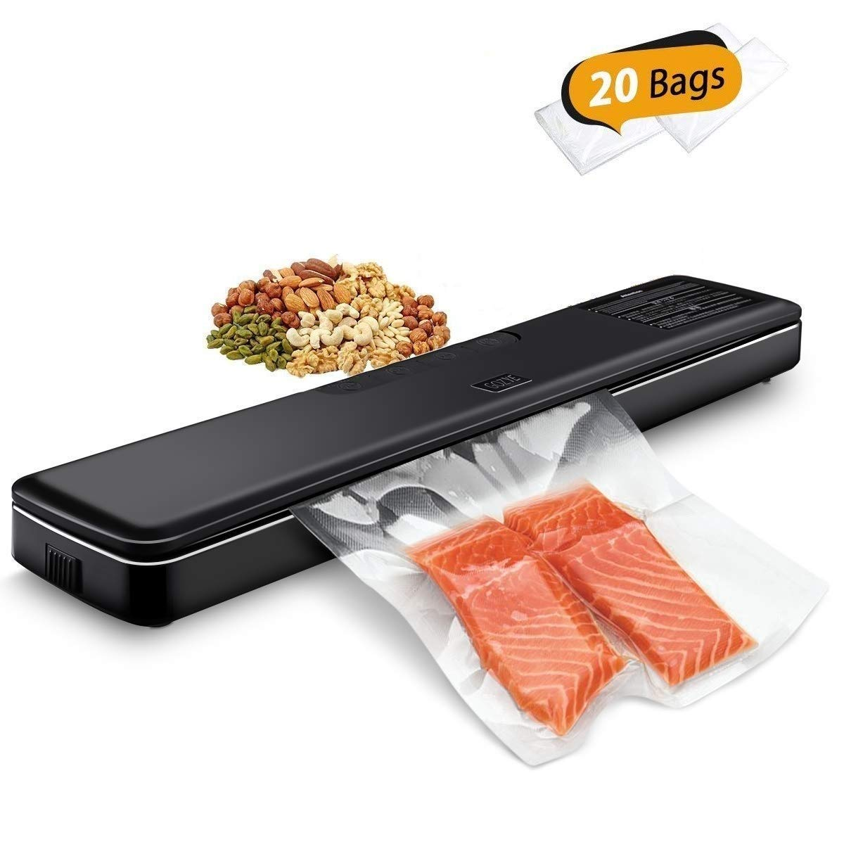 Vacuum Sealer Machine By GOZYE,Automatic Vacuum Air Sealing System For Food Preservation,Multi-use Home Vacuum Packing Machine With 20 sealing Bags Kit,Dry Moist Food Modes