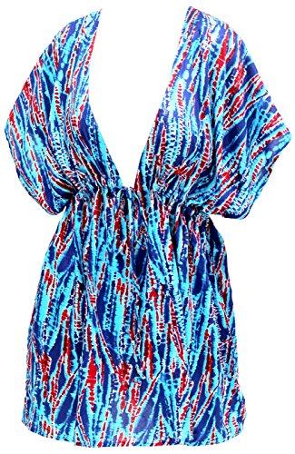 La Leela balancín diseñador del vestido vestido de verano ropa de playa, más de la cubierta del bikini de la mujer azul ups